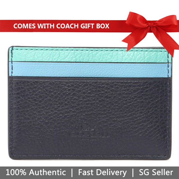 Coach Card Case In Gift Box Flat Card Case In Grain Leather With Rainbow Blue Multi # F11739