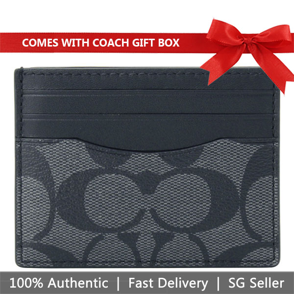 Coach Card Case In Gift Box Slim Card Case Charcoal / Black # F58110