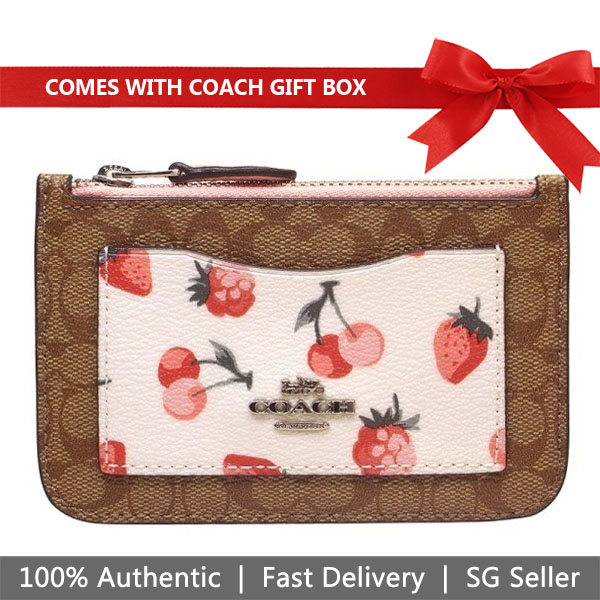 Coach Card Case In Gift Box Zip Top Card Case In Signature Canvas With Fruit Print Khaki Multi / Silver # F59172