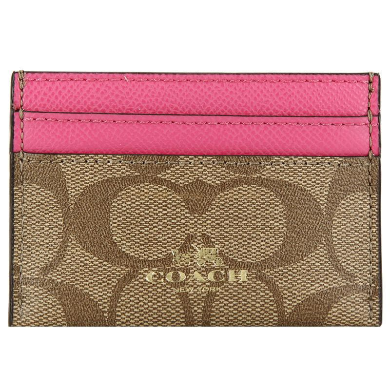 Coach Card Case In Signature Canvas Khaki / Dahlia Pink # F63279