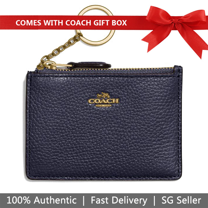 Coach Card Key Case In Gift Box Mini Id Skinny Key Ring Navy Dark Blue # 14469B