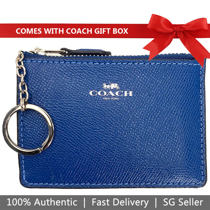 Coach Card Key Case In Gift Box Mini Skinny Id Case Atlantic Blue # F12186