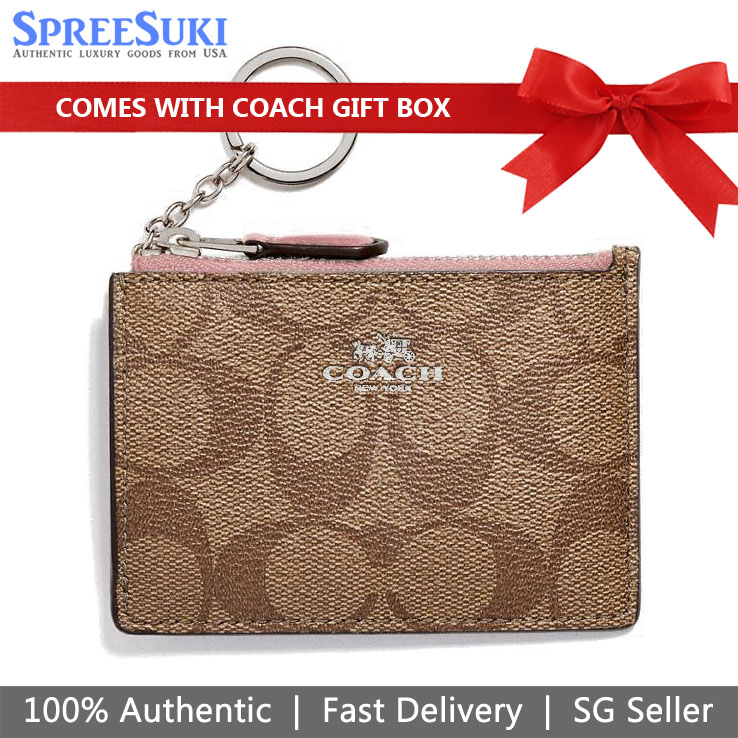 Coach Card Key Case In Gift Box Mini Skinny Id Case In Signature Canvas Khaki / Petal Pink # F16107