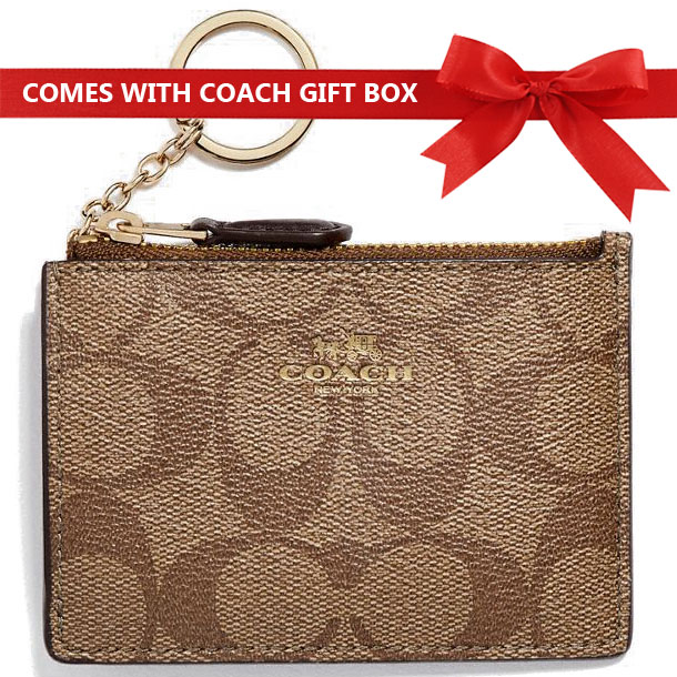 Coach Card Key Case In Gift Box Mini Skinny Id Case In Signature Canvas Khaki / Saddle Brown # F16107