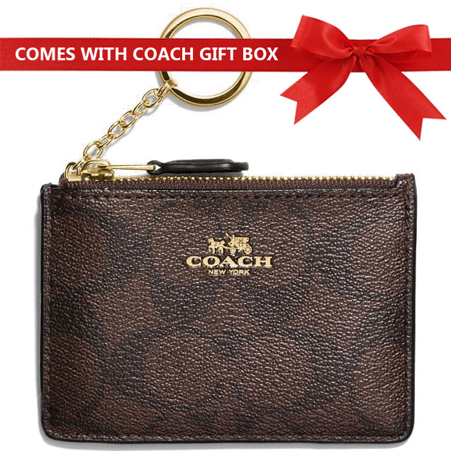 Coach Card Key Case In Gift Box Mini Skinny Id Case In Signature Coated Canvas Black Brown # F16107