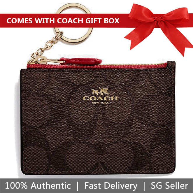 Coach Card Key Case In Gift Box Mini Skinny Id Case In Signature Coated Canvas Brown / True Red # F16107
