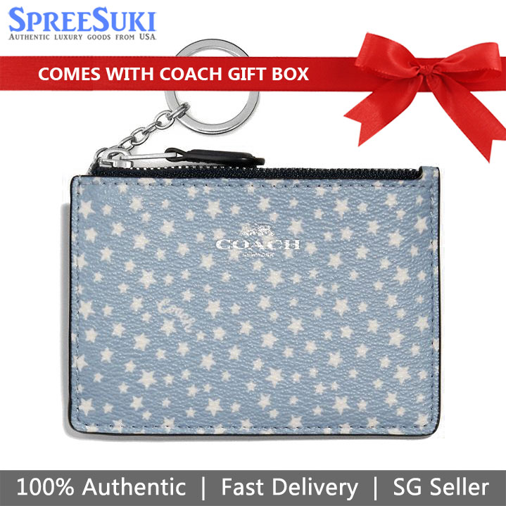 Coach Card Key Case In Gift Box Mini Skinny Id Case With Ditsy Star Print Blue # F67611