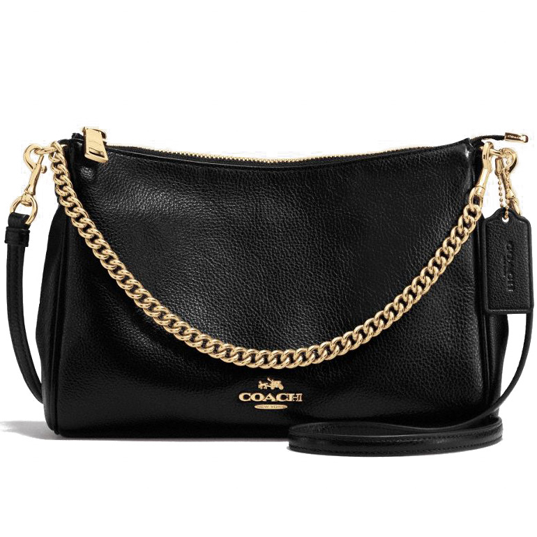 Coach Carrie Crossbody In Pebble Leather Gold / Black # F36666