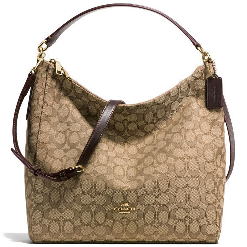 Coach Celeste Convertible Hobo In Outline Signature Khaki Brown # F55365
