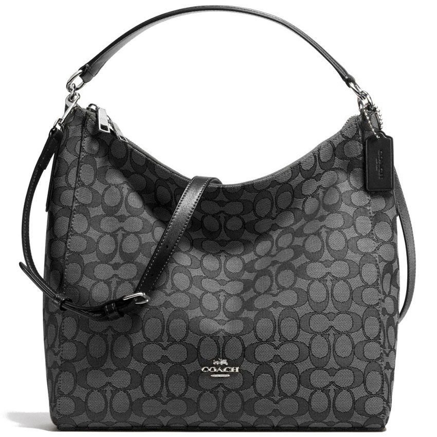 Coach Celeste Convertible Hobo In Outline Signature Silver / Black Smoke / Black # F58327