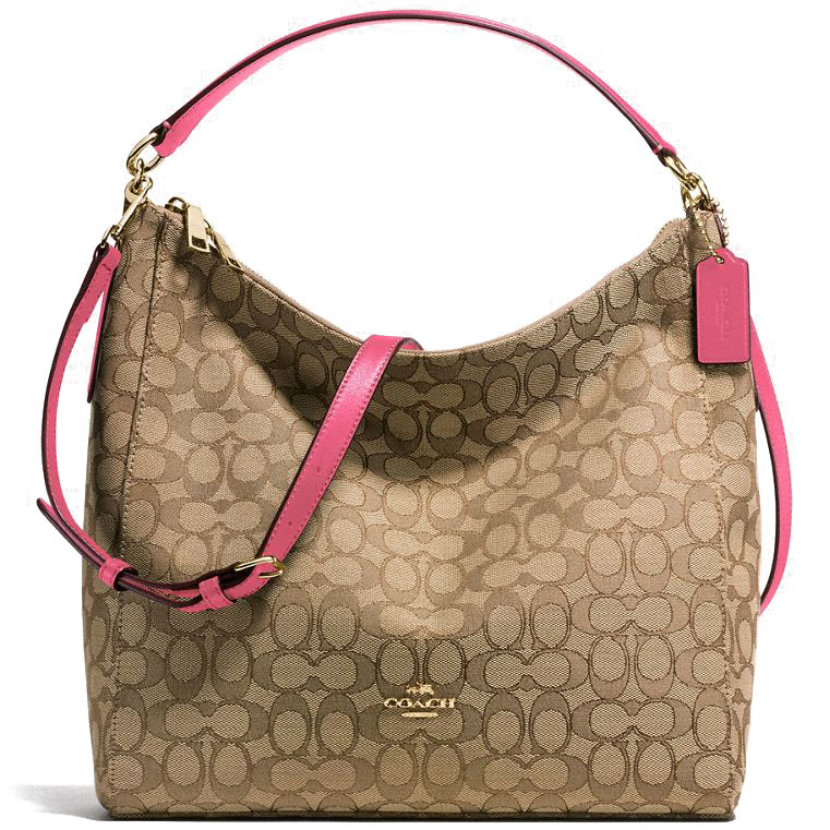 Coach Celeste Convertible Hobo In Outline Signature Jacquard Brown Bright Pink # F58327