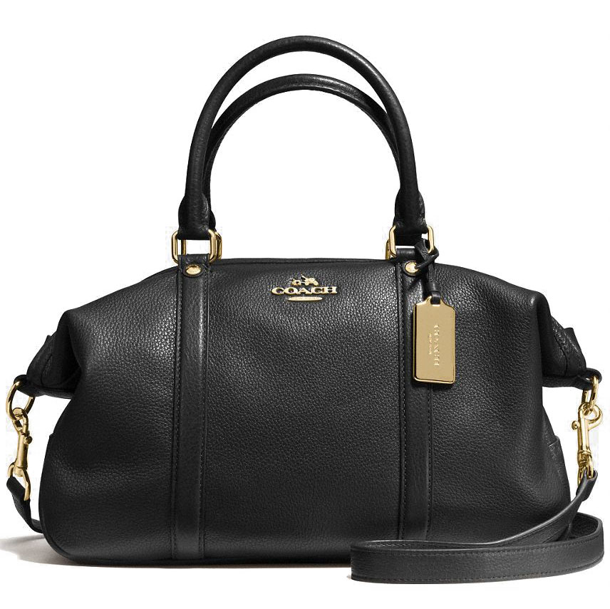 Coach Central Satchel In Pebble Leather Gold / Black # F55662