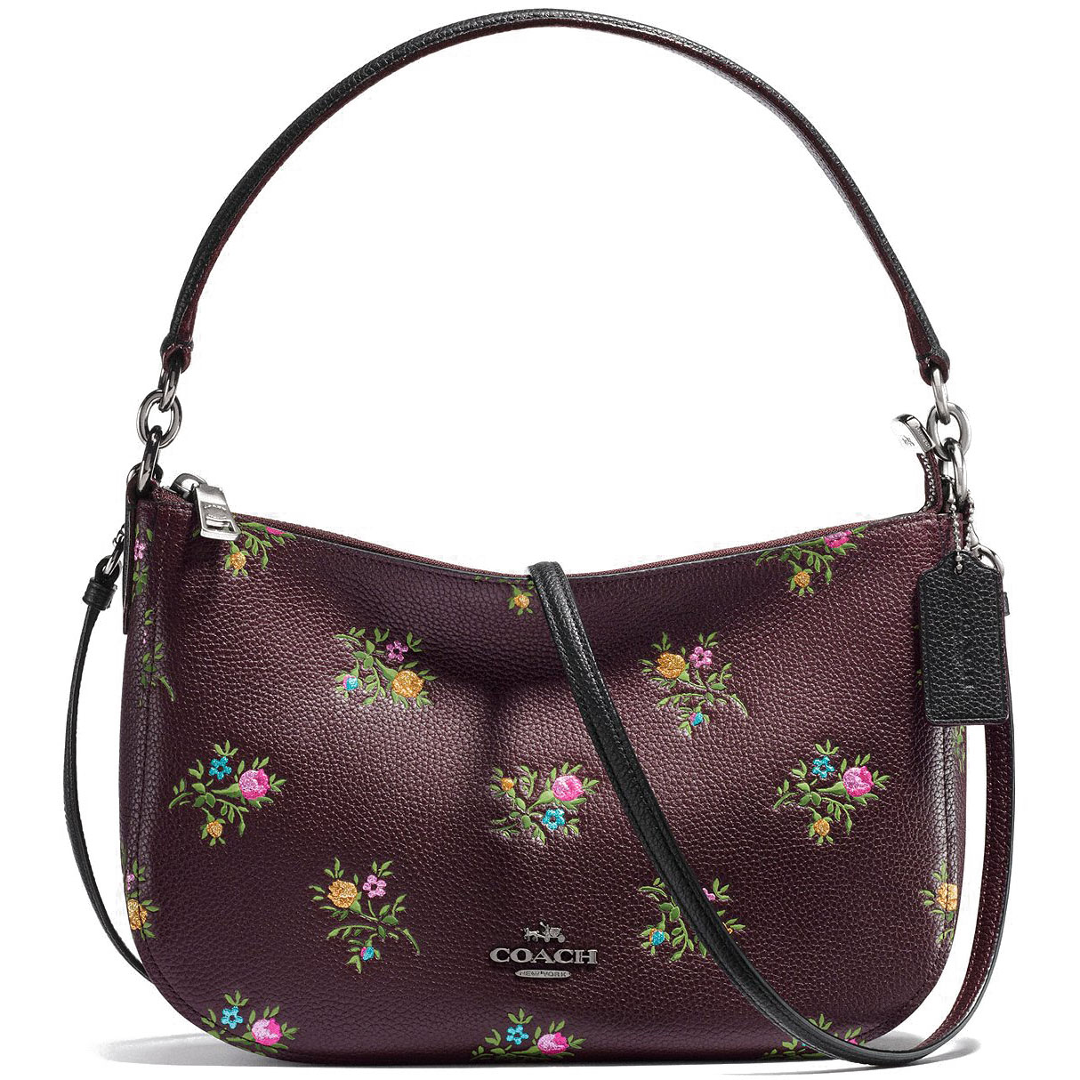 Coach Chelsea Crossbody With Cross Stitch Floral Print Floral / Oxblood # 22830
