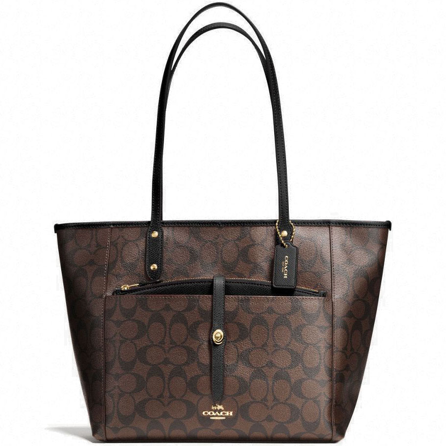 Coach City Tote With Pouch In Signature Shoulder Bag Black / Brown # F54700
