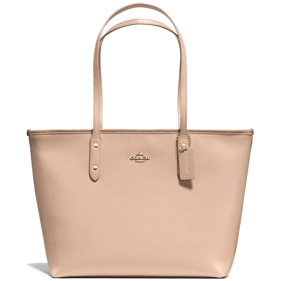 Coach City Zip Tote In Crossgrain Leather Beechwood Nude Beige # F57522