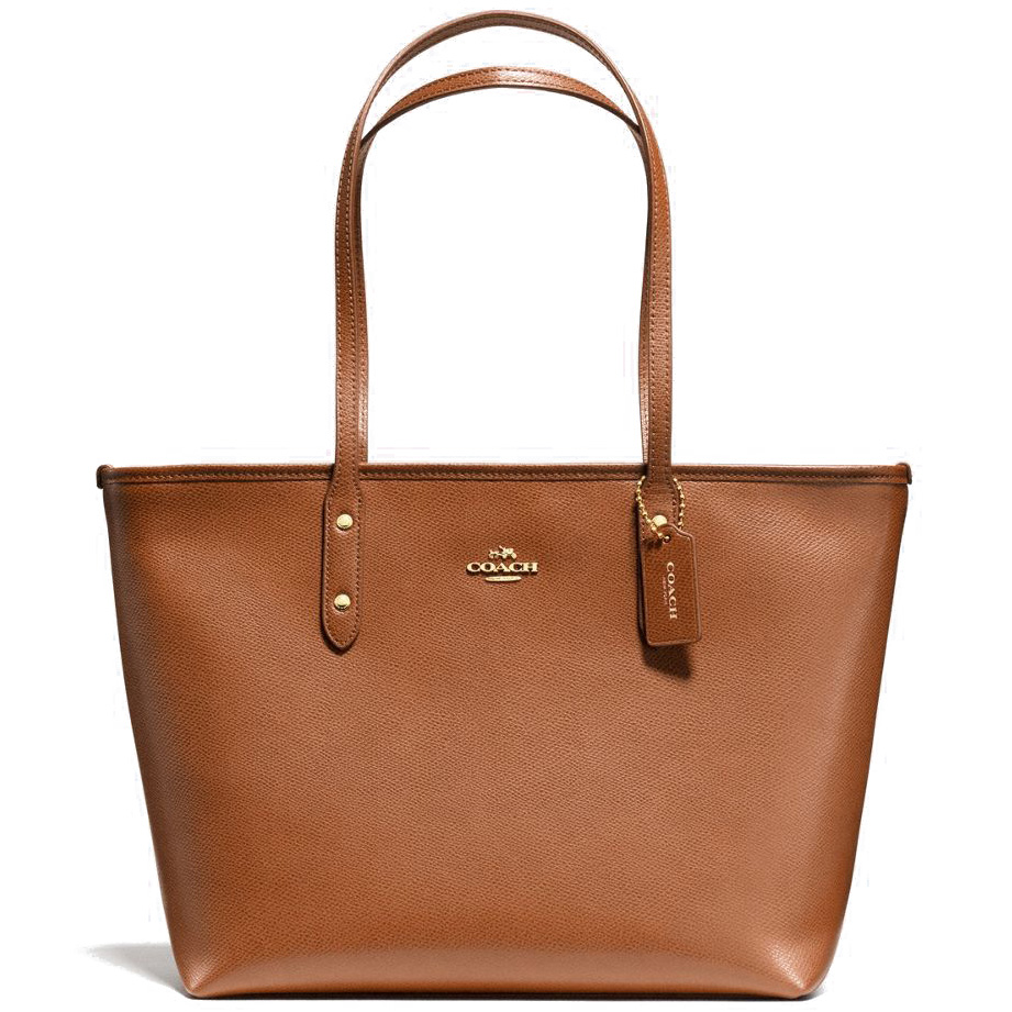 Coach City Zip Tote In Crossgrain Leather Gold / Saddle Brown # F58846