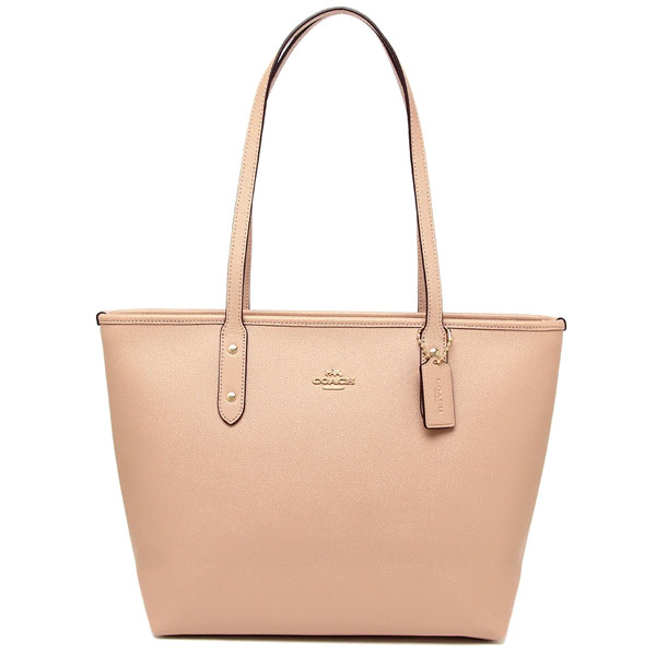Coach City Zip Tote In Crossgrain Leather Nude Pink / Gold # F58846