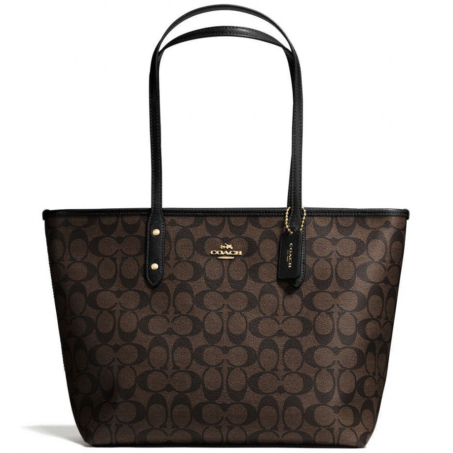 Coach City Zip Tote In Signature Gold / Brown / Black # F58292