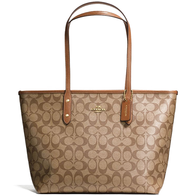 Coach City Zip Tote In Signature Gold / Khaki / Saddle Brown # F58292
