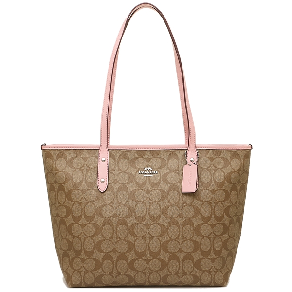 Coach City Zip Tote In Signature Khaki Blush 2 # F58292