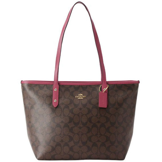 Coach City Zip Tote In Signature Light Gold / Brown Rouge # F58292