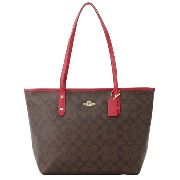 Coach City Zip Tote In Signature Shoulder Bag Brown Red # F58292