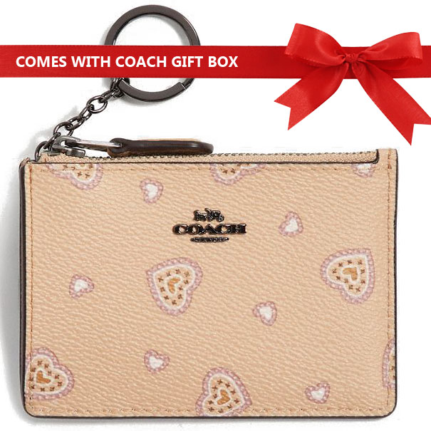Coach Coin Case Card Case Mini Id Skinny Coin Case Beechwood Nude Beige Western Heart # 29905