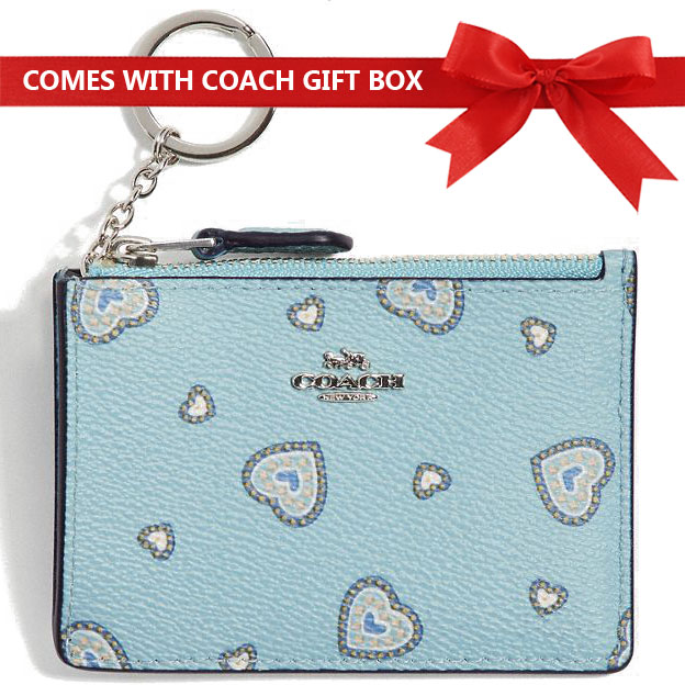 Coach Coin Case Card Case Mini Id Skinny Coin Case Light Turquoise Blue Western Heart # 29905