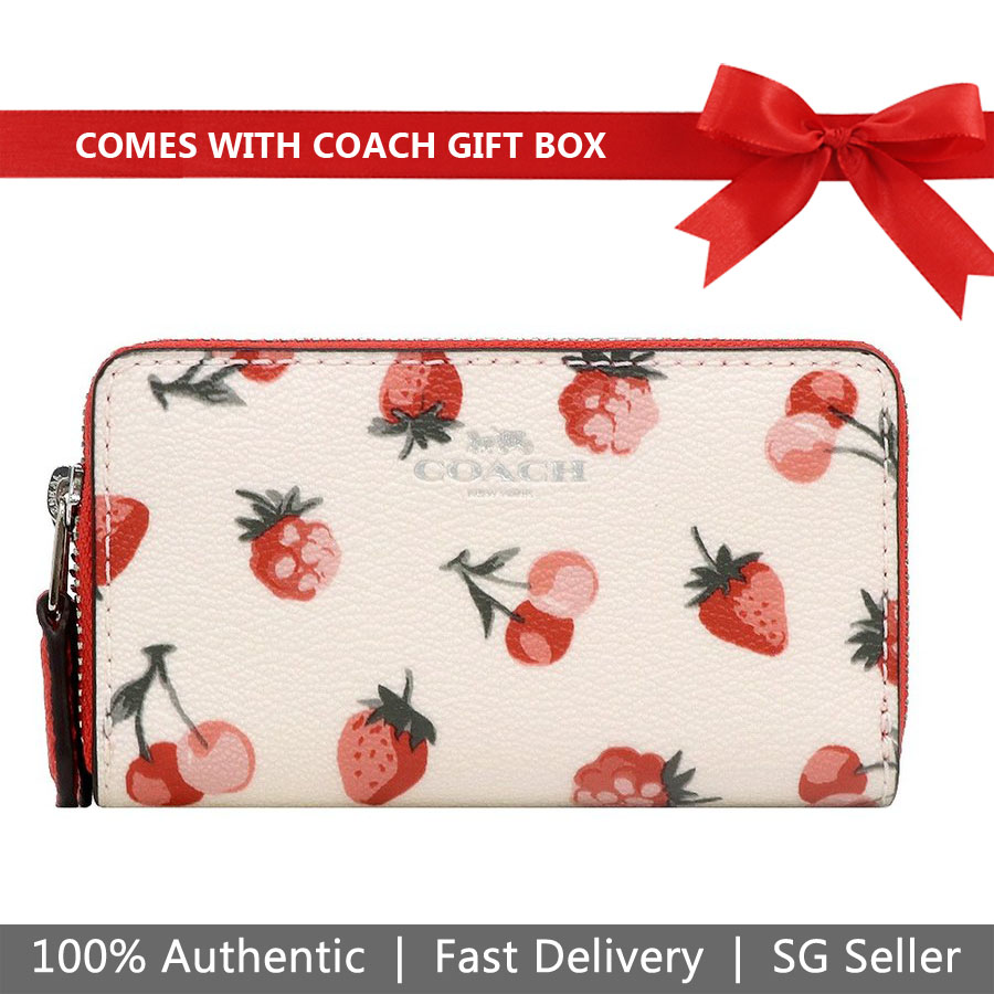 Coach Coin Case In Gift Box Small Double Zip Coin Case With Fruit Print Chalk White # F23677