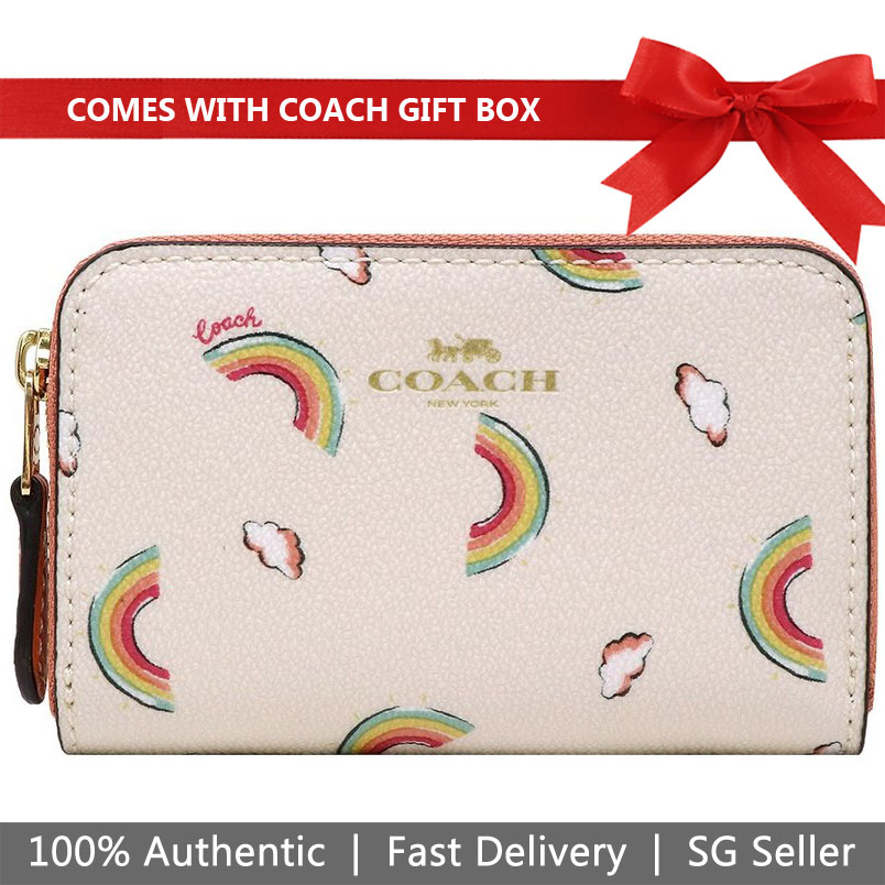 Coach Coin Case In Gift Box Small Zip Around Coin Case With Allover Rainbow Print Chalk Off White # F73474