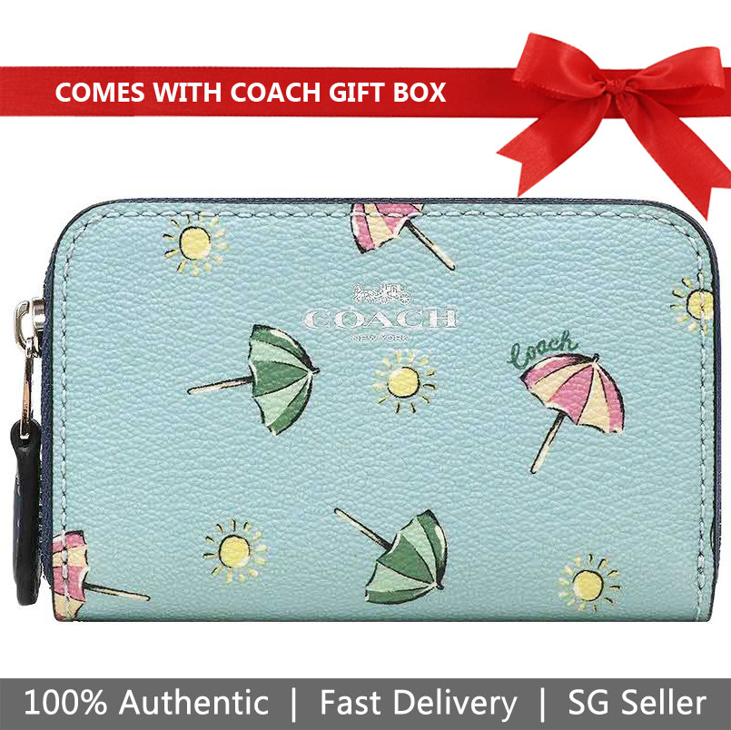 Coach Coin Case In Gift Box Small Zip Around Coin Case With Beach Umbrella Print Seafoam Blue # F73473