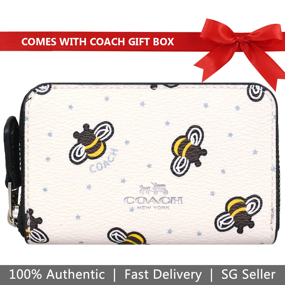 Coach Coin Case In Gift Box Zip Around Coin Case With Bee Print Chalk White # F25885