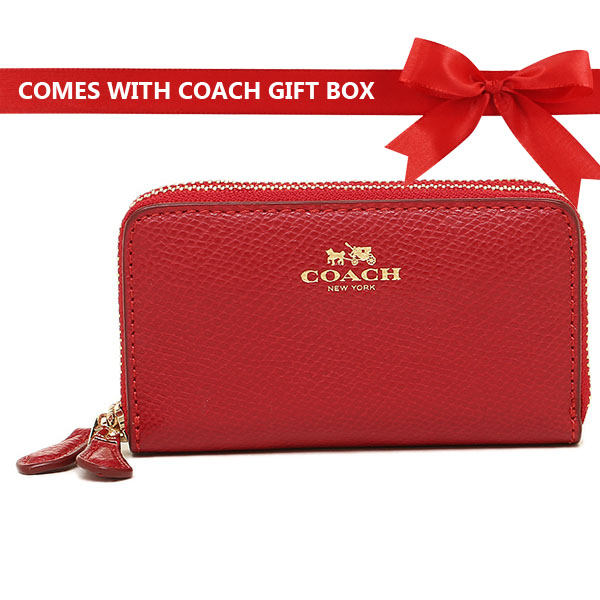 Coach Coin Case Zip Around True Red / Gold # F27569