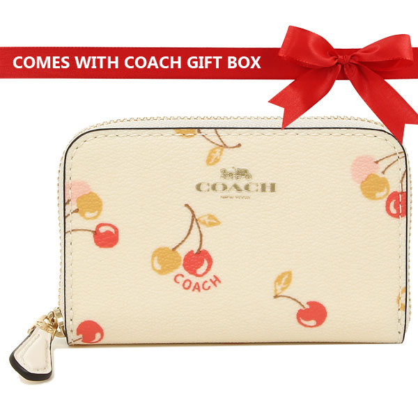 Coach Coin Case Zip Around With Cherry Print Chalk White / Gold # F31900