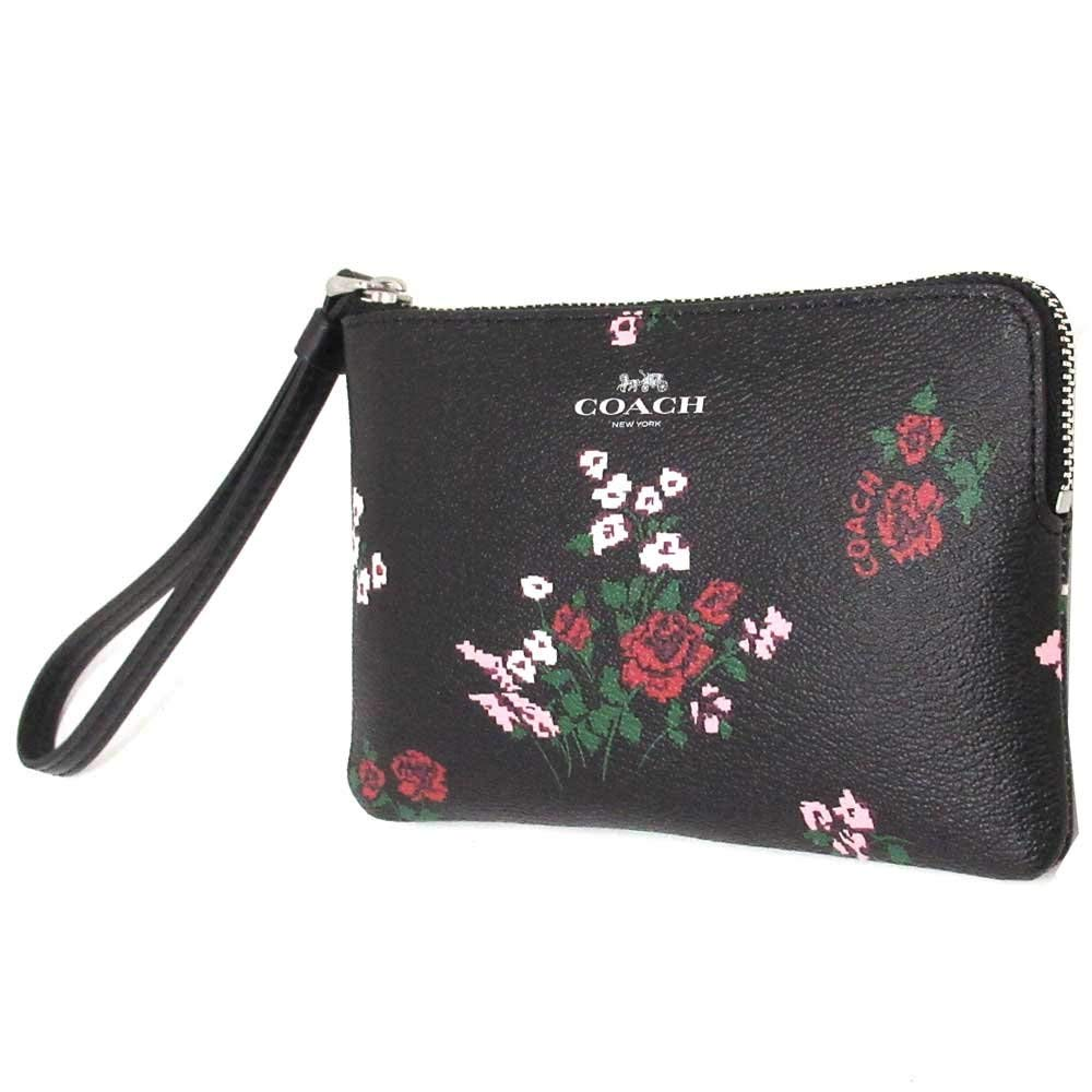 Coach Corner Zip With Cross Stitch Floral Print Silver / Black Multi # F26217