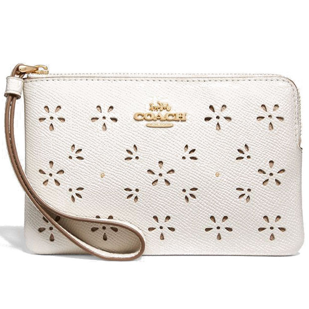 Coach Corner Zip Wristlet Chalk / Gold # F27464