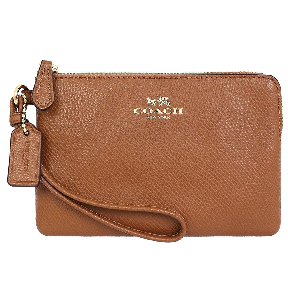 Coach Corner Zip Wristlet In Crossgrain Leather Gold / Saddle Brown # F54626