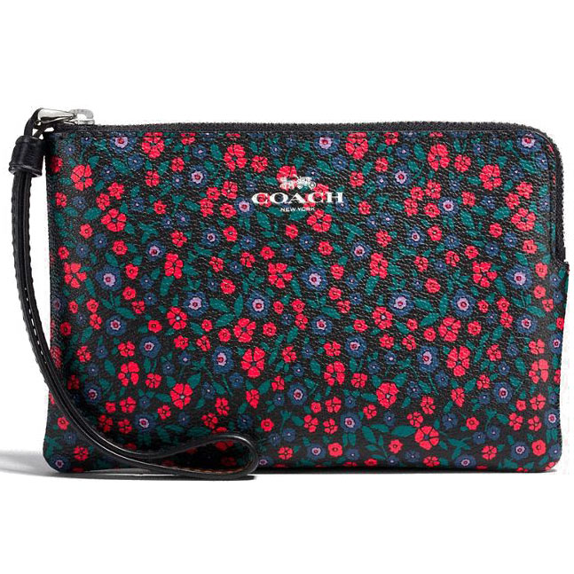 Coach Corner Zip Wristlet In Ranch Floral Print Coated Canvas Bright Red Black # F59551