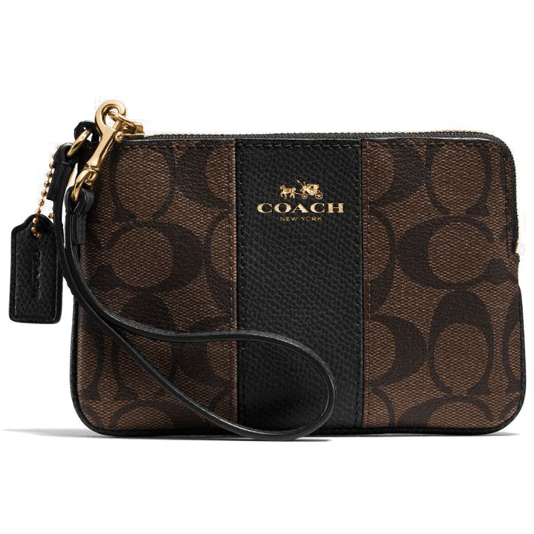 Coach Corner Zip Wristlet In Signature Coated Canvas With Leather Black / Brown # F64233