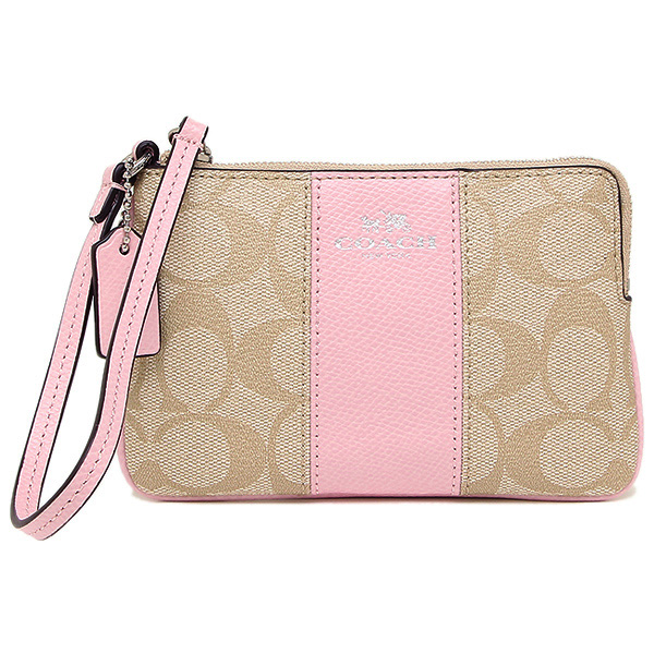 Coach Corner Zip Wristlet In Signature Coated Canvas With Leather Light Khaki / Petal # F64233