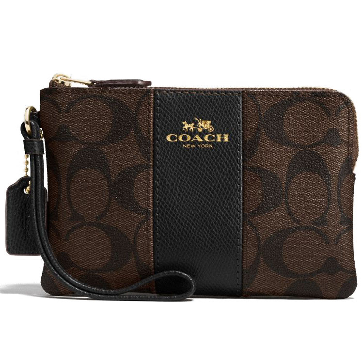 Coach Corner Zip Wristlet In Signature Coated Canvas With Leather Stripe Gold / Brown / Black # F54629