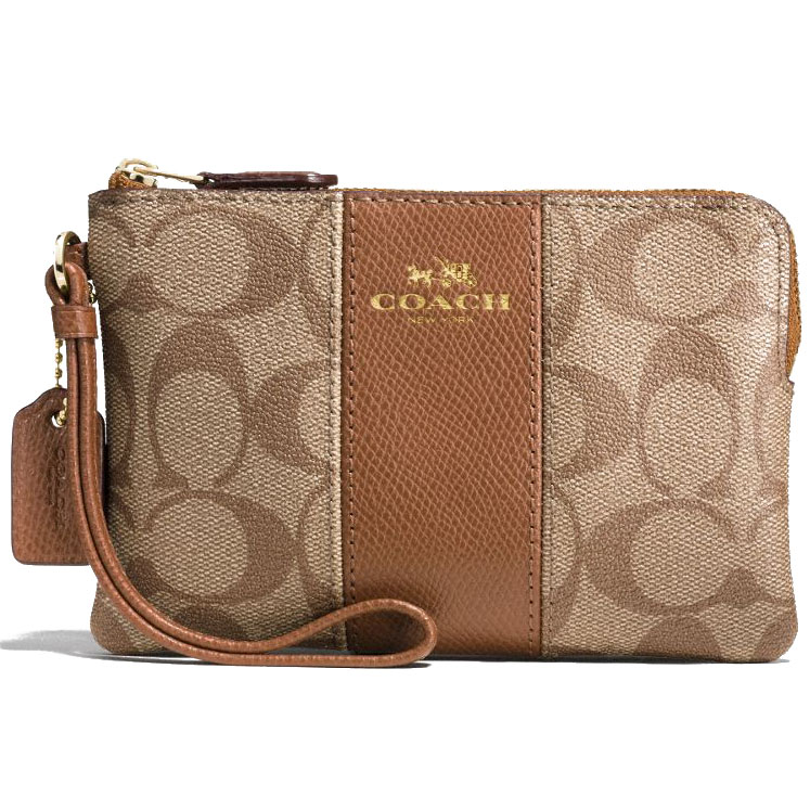Coach Corner Zip Wristlet In Signature Coated Canvas With Leather Stripe Gold / Khaki / Saddle Brown # F54629