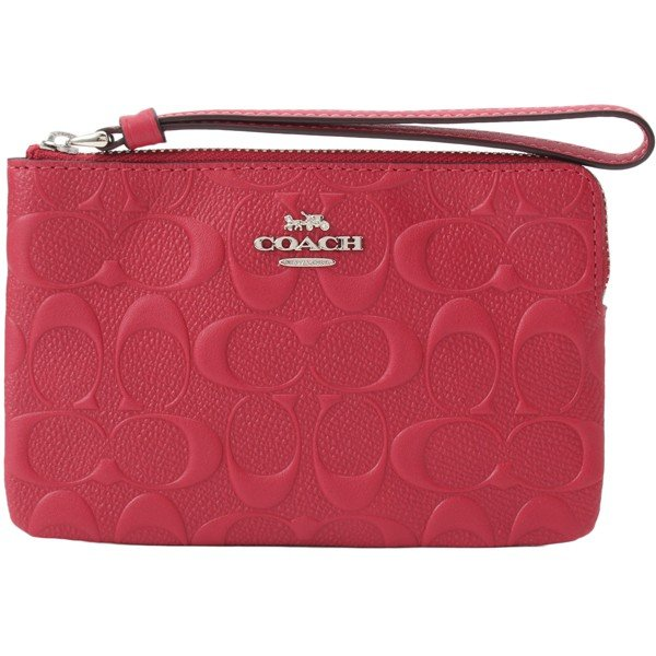 Coach Corner Zip Wristlet In Signature Leather Silver / Hot Pink # F30049