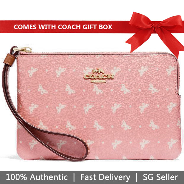 Coach Corner Zip Wristlet With Butterfly Dot Print Blush Pink / Chalk White / Gold # F31244