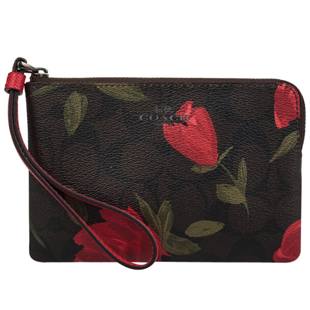 Coach Corner Zip Wristlet With Camo Rose Floral Print Black Antique Nickel / Brown Red Multi # F26291