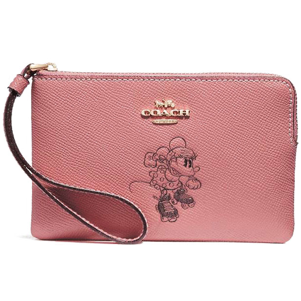 Coach Corner Zip Wristlet With Minnie Mouse Motif Vintage Pink / Light Gold # F30004