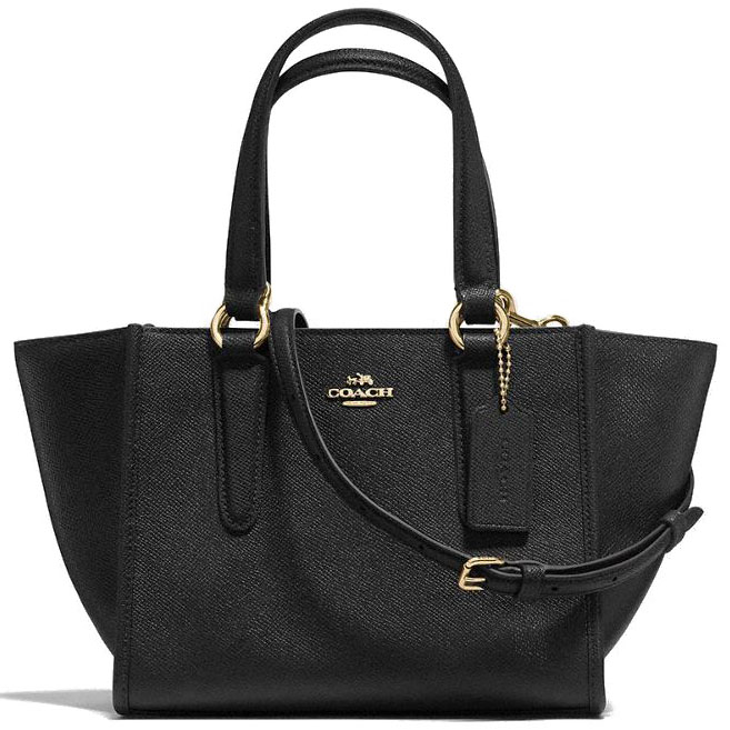 Coach Crosby Carryall 21 In Crossgrain Leather Light Gold / Black # F11925
