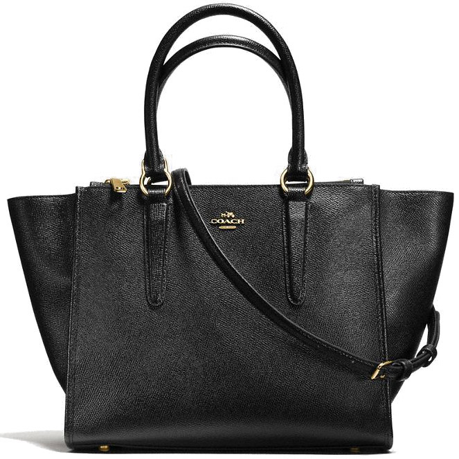 Coach Crosby Carryall In Crossgrain Leather Crossbody Bag Black / Gold # F14928