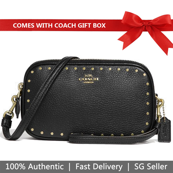 Coach Crossbody Bag In Gift Box Border Rivets Crossbody Bag Clutch Black # 31795
