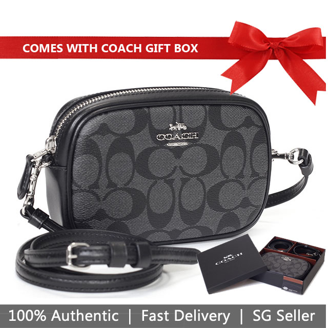 Coach Crossbody Bag In Gift Box Convertible Belt Bag In Signature Canvas Black Smoke / Black / Silver # F39657